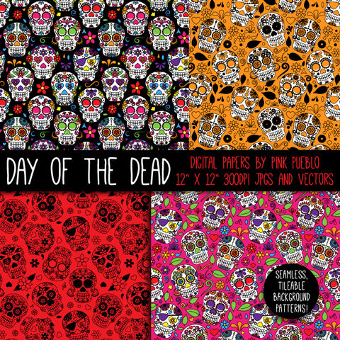 Day of the Dead Skulls Patterns and Papers - PinkPueblo