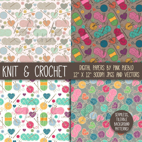 Knitting & Crochet Patterns or Digital Paper