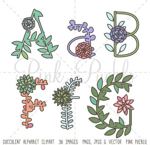 Succulent Alphabet Clipart and Vectors