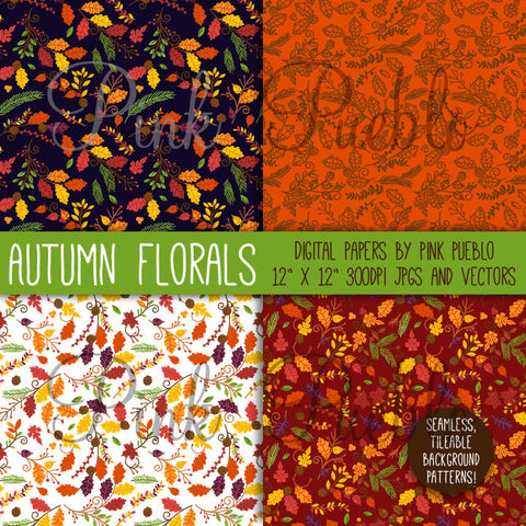 Autumn or Thanksgiving Flowers Digital Scrapbook Paper - PinkPueblo