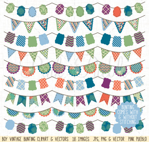 Boy Bunting Clip Art and Vectors - PinkPueblo