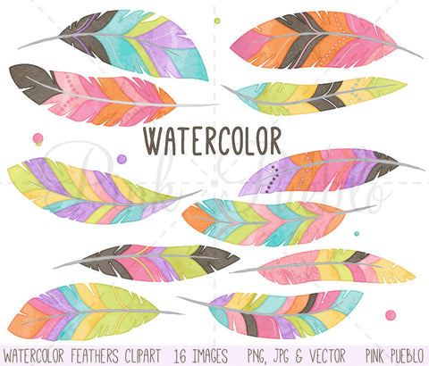 Watercolor Feather Clipart