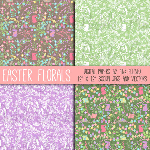 Easter Floral Papers and Patterns - PinkPueblo