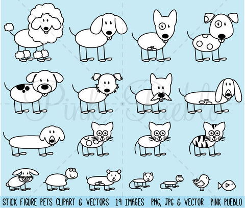 Stick Figure Pets Clipart and Vectors
