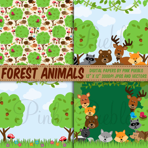 Forest Animal Digital Paper and Backgrounds - PinkPueblo