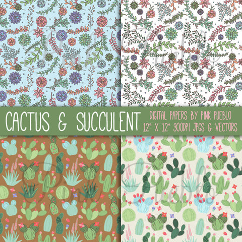 Cactus and Succulent Digital Paper