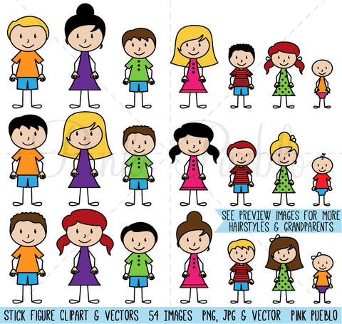 Stick Figure Family Clipart & Vector