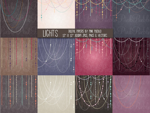 Holiday Lights Papers or Backgrounds - PinkPueblo