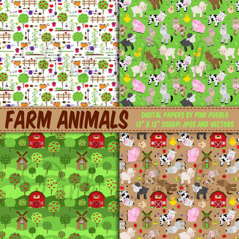 Farm Animal Digital Paper, Farm Animal Scrapbook Paper - PinkPueblo