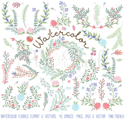 Watercolor Flower Clipart - PinkPueblo