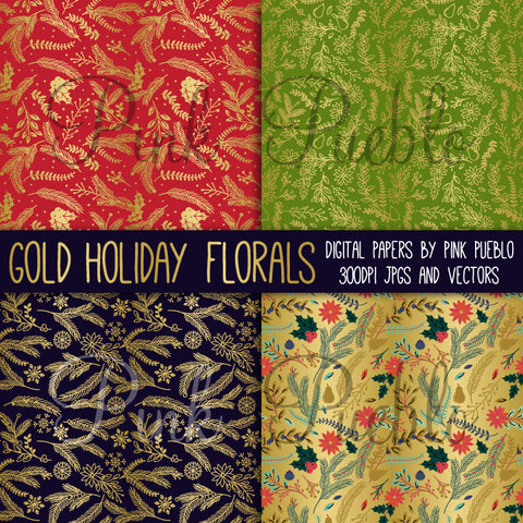 Faux Gold Foil Christmas Patterns or Digital Paper - PinkPueblo