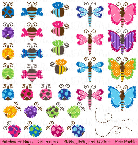 Patchwork Bugs Clipart & Vectors