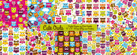 Owl Digital Papers and Backgrounds - PinkPueblo