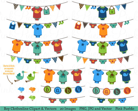 Baby Boy Bunting or Clothesline Clipart and Vectors