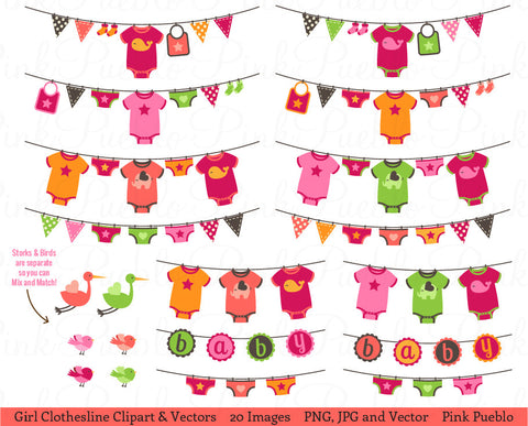 Baby Girl Bunting or Clothesline Clipart and Vectors
