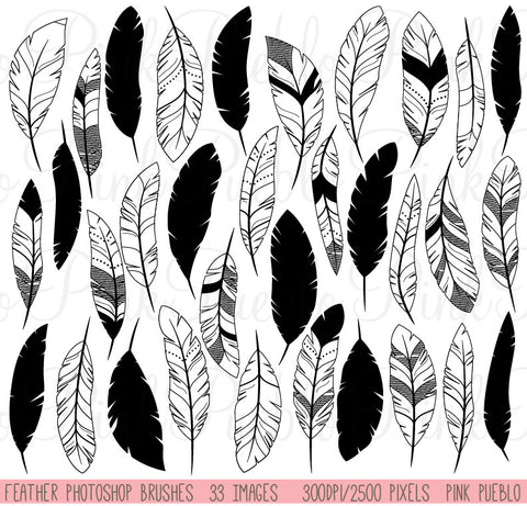 Feather Silhouette Photoshop Brushes - PinkPueblo