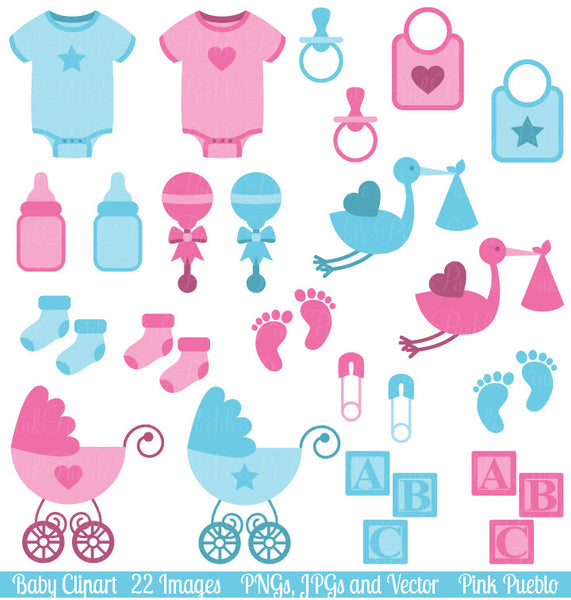 Boy and Girl Baby Clipart & Vectors - PinkPueblo