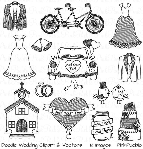 Doodle Wedding Clipart and Vectors - PinkPueblo