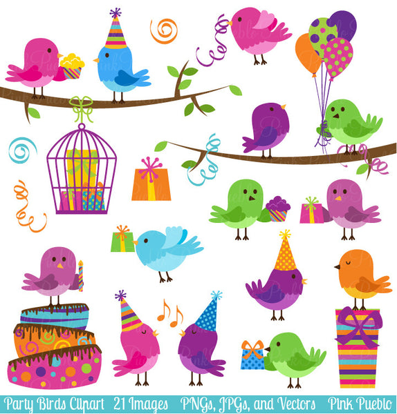 Party Birds Clipart and Vectors - PinkPueblo
