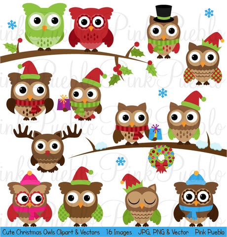 Cute Christmas Owl Clipart & Vectors