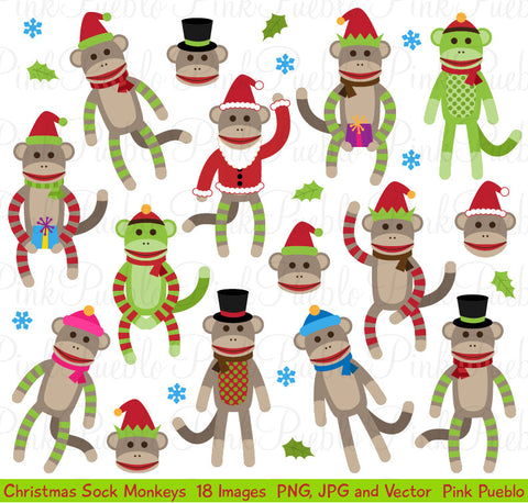 Christmas Sock Monkey Clipart and Vectors - PinkPueblo