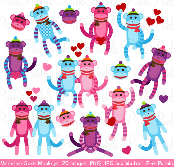 Valentine Sock Monkey Clipart and Vectors