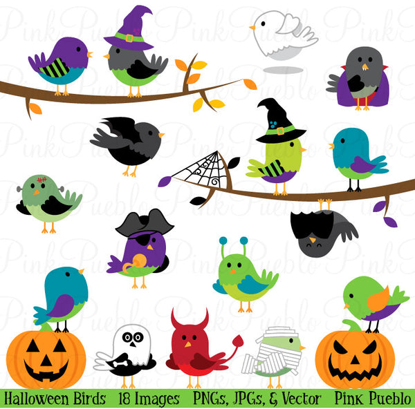 Halloween Birds Clipart & Vectors - PinkPueblo