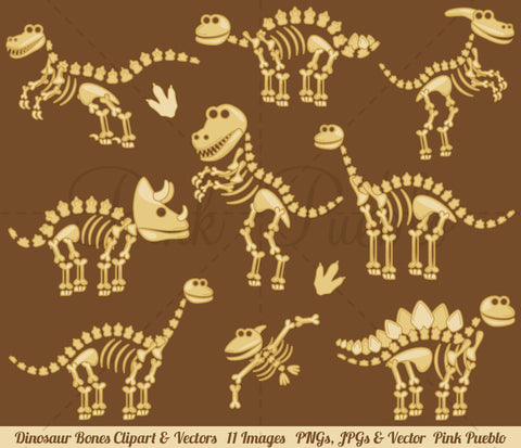 Dinosaur Fossils and Bones Clipart and Vectors
