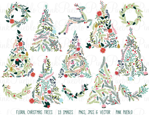 Floral Christmas Trees & Bunting Clipart - PinkPueblo