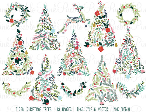 Floral Christmas Trees & Bunting Clipart