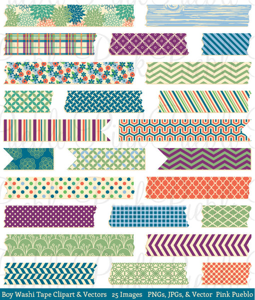 Boy Washi Tape Clip Art & Vectors