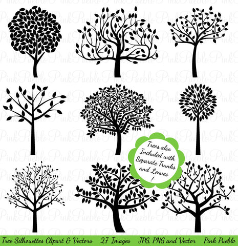 Tree Silhouettes Clipart & Vectors