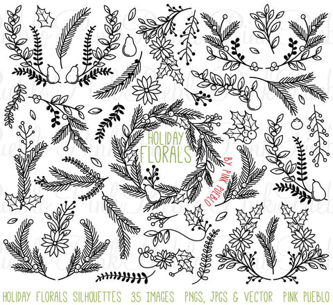 Christmas Holiday Floral Silhouettes Clipart
