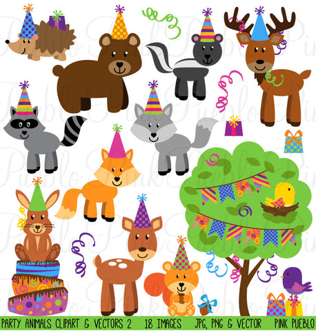 Woodland Party Animal Clipart and Vectors
