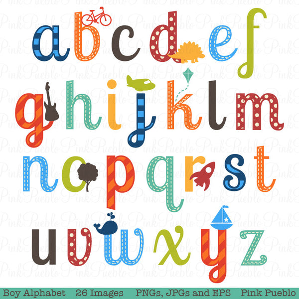 Boy Alphabet Clipart & Vectors, Lowercase - PinkPueblo