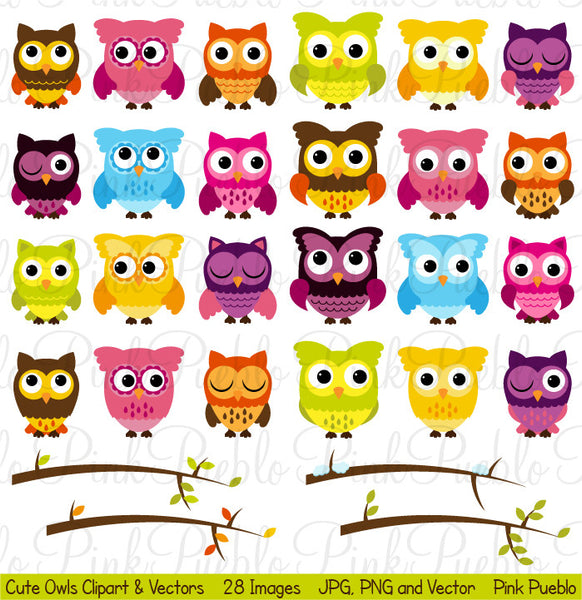 Owls and Branches Clipart & Vectors - PinkPueblo