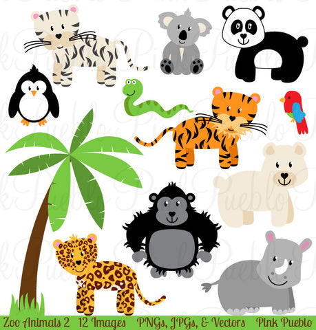 Zoo Jungle Animals Clipart & Vectors - PinkPueblo