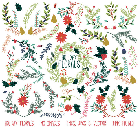 Christmas Holiday Vintage Florals Clipart
