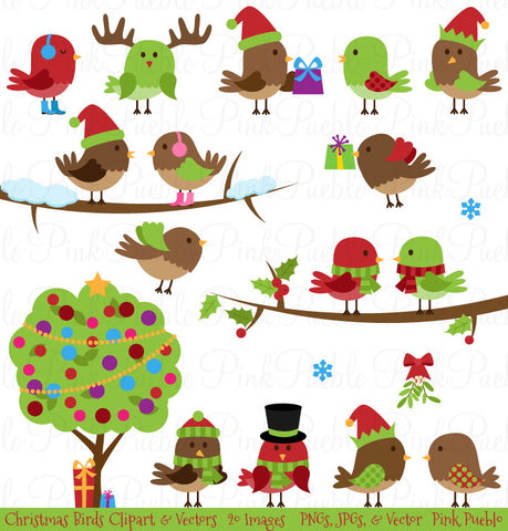 Christmas Birds Clipart & Vectors