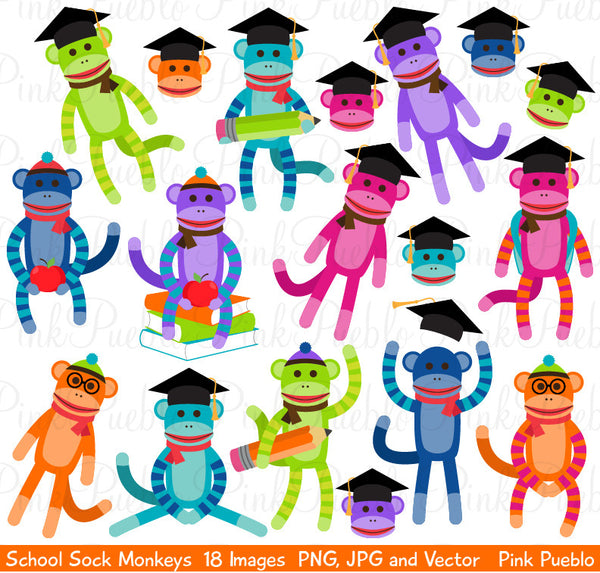 School Sock Monkey Clipart & Vectors