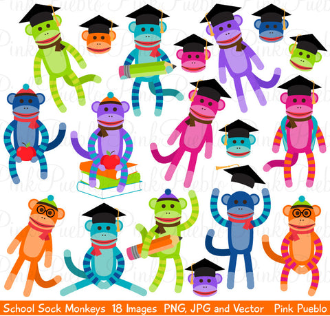 School Sock Monkey Clipart & Vectors - PinkPueblo