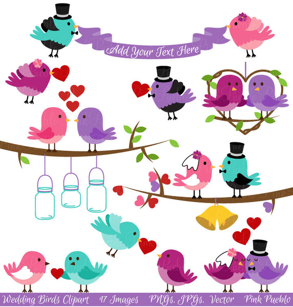 Wedding Birds Clipart and Vectors - PinkPueblo