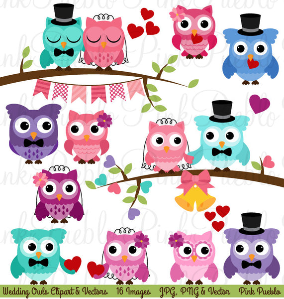 Wedding Owls Clipart and Vectors - PinkPueblo