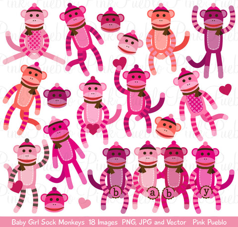 Baby Girl Sock Monkey Clipart and Vectors - PinkPueblo