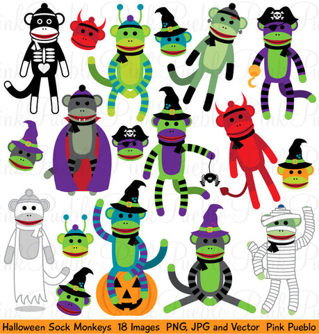 Halloween Sock Monkeys Clipart and Vectors - PinkPueblo