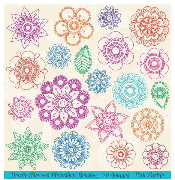 Doodle Mandala Flowers Photoshop Brushes