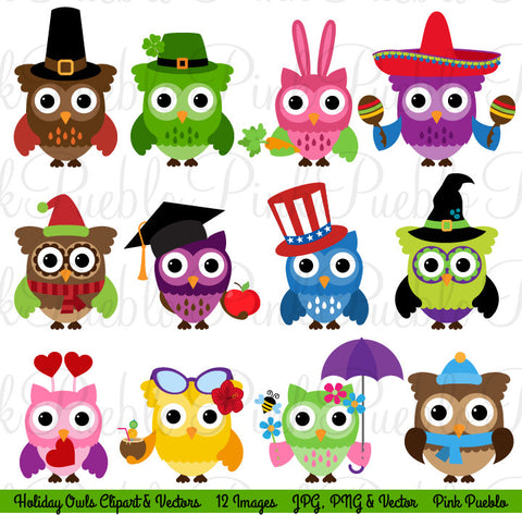 Holiday Owl Clipart and Vectors - PinkPueblo