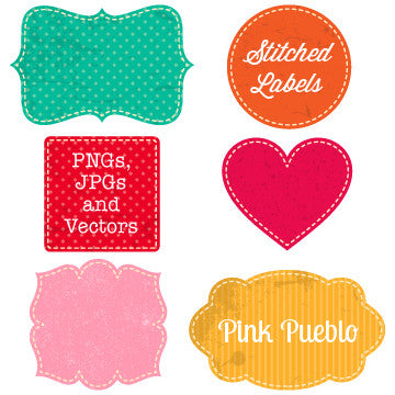 Freebie - Bright Vintage Stiched Labels Clipart and Vectors