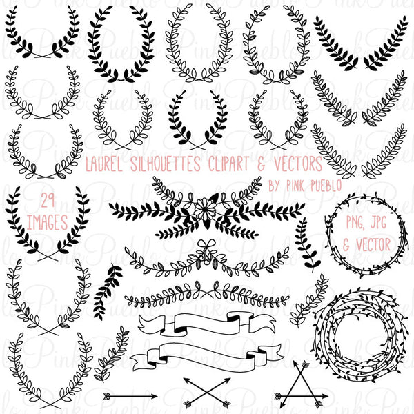 Laurel Silhouettes Clipart & Vectors