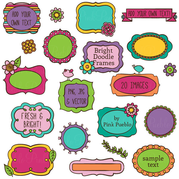 Bright Doodle Frames Clipart and Vectors - PinkPueblo